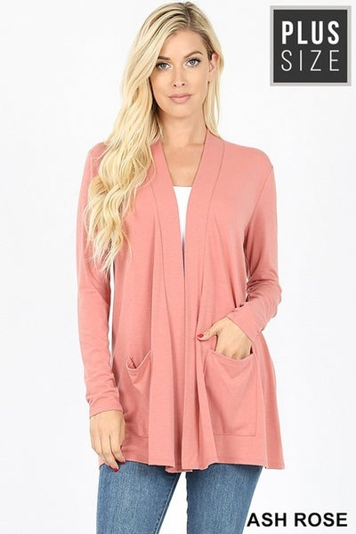 Zenana Plus Slouchy Pocket Open Cardigan