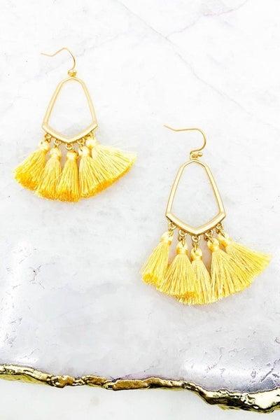 Geometrical Shaped Tassel Earrings