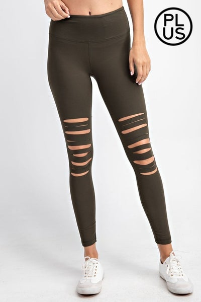 Olive Curvy Laser Cut Wide Waist Band Leggings
