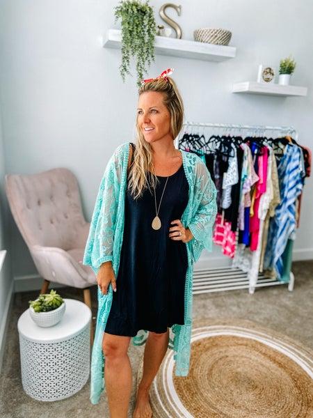 She & Sky Crochet Lace Front Kimono