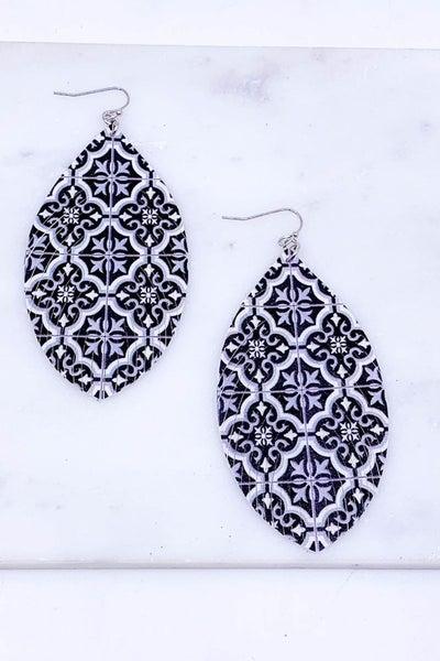 Fringed Polyurethane Printed Drop Earrings