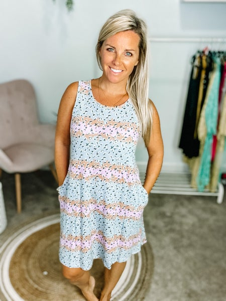 Honeyme Grey/Pink Striped Swing Dress with Pockets