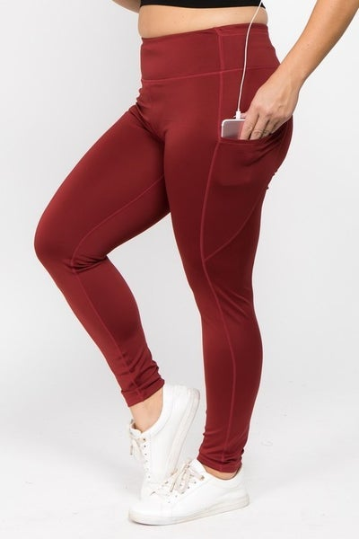 Wine Red Curvy High Waist Tech Pocket Leggings