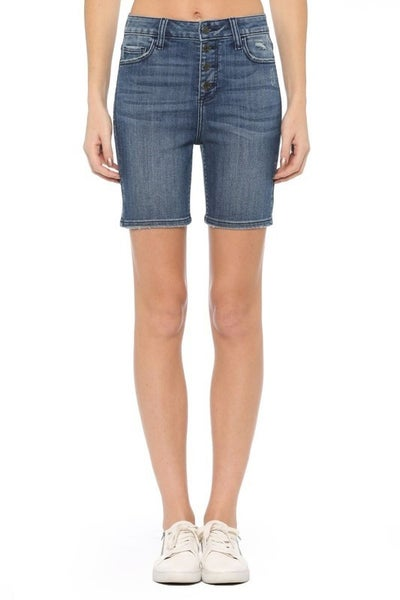 Cello High Rise Exposed 4 Button Fly Bermuda Shorts
