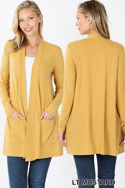 Zenana Slouchy Pocket Open Cardigan