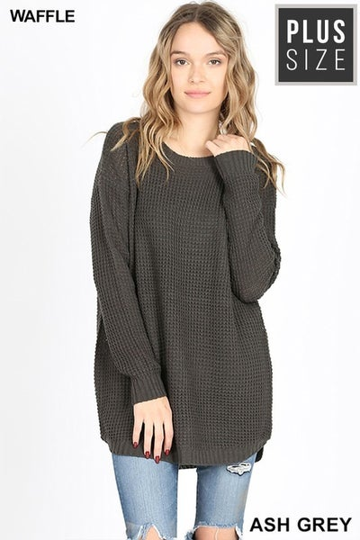 PLUS HI-LOW LONG SLEEVE ROUND NECK WAFFLE SWEATER  in Grey *Final Sale*
