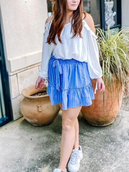 Main Strip Ruffle Elastic Waist Tiered Skirt