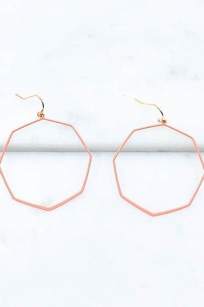 Rubber coated Hexagon Drop Earrings