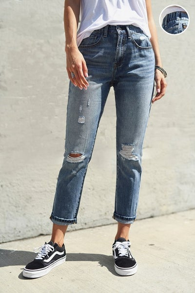 Risen Medium Wash Distressed Girlfriend Jean