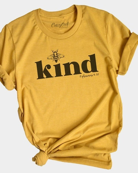 Bee Kind Curvy Graphic Tee in Mustard