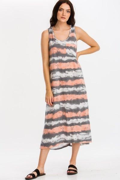 CY Fashion Tie Dye Stripe Maxi Dress