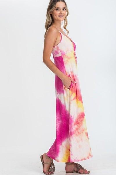 CY Fashion Pink/Yellow Tie Dye Maxi Dress