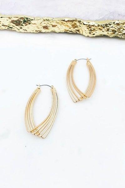 Gold Oblong Multi Hoop Earrings