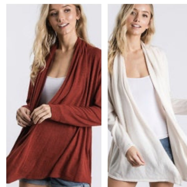 CY Fashion Draped Open Front Cardigan