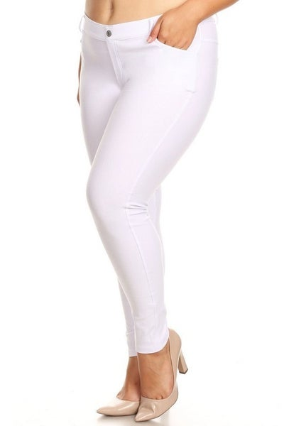 White Cotton Blend 5 Pocket Jeggings