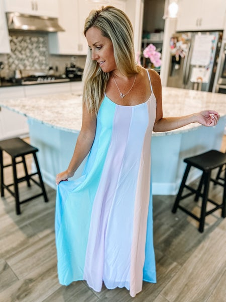 Unicorn Rainbow Strap Maxi Dress