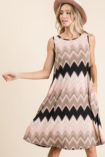 BomBom Chevron Print Swing Dress