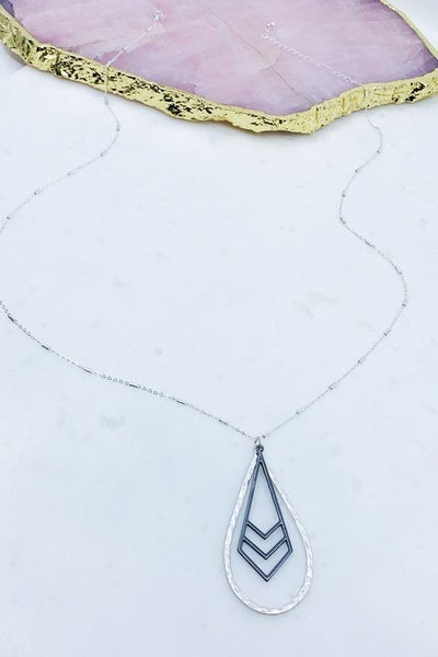 Hammered Teardrop Pendant Necklace with a Chevron Charm