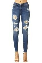 Mid-Rise Medium Wash Lace Patch Skinny Jeans