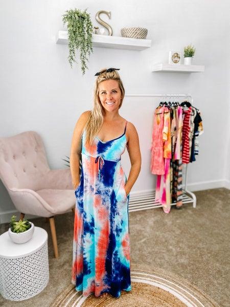 CY Fashion Coral/Navy Tie Dye Maxi Dress