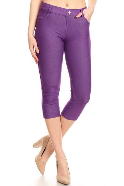 Yelete Purple Capri Jeggings