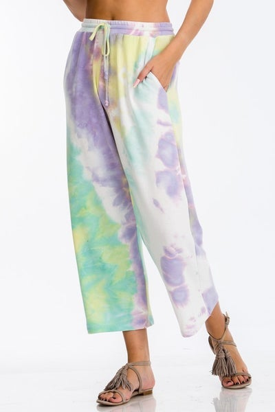CY Fashion Tie Dye Drawstring Pants in Mint Purple