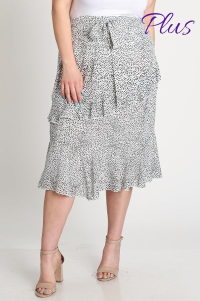 L Love Curvy Off White Ruffled Midi Skirt