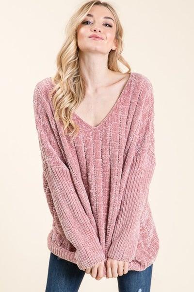 Dusty Rose Oversize Chenille Sweater