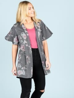 Charcoal Floral Flutter Sleeve Cardi *Final Sale*