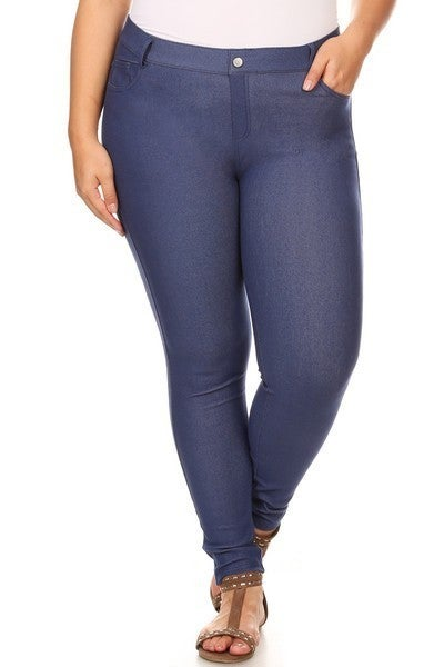 Denim Blue Curvy 5 Pocket Jeggings