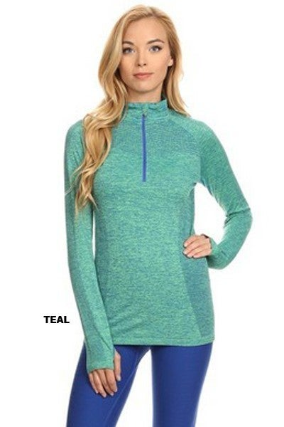 Seamless Active Pull Over Jacket in Teal