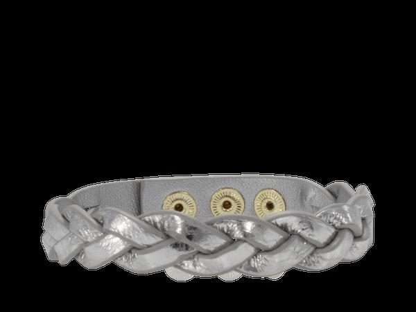 Erimish Braided Silver Leather Cuff