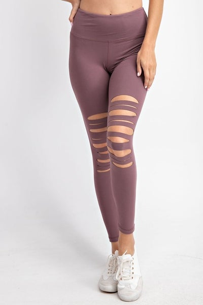 Dark Mauve Laser Cut Wide Waist Band Leggings