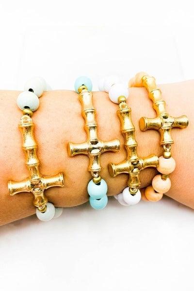Wood Beaded Cross Stretch Bracelet