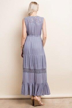 L Love Slate Grey Lace Contrast Ruffle Maxi Dress