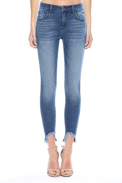 Cello Mid Rise Hem Frayed Crop Skinny Jeans
