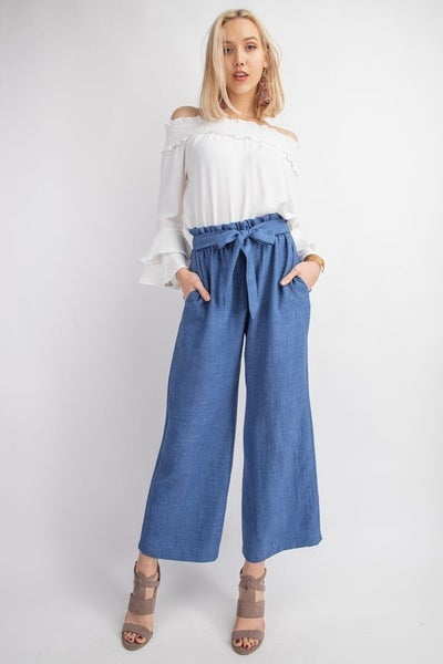 WAIST BAND KNOT WIDE PANTS IN DENIM