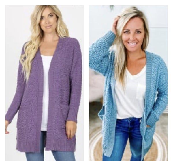 Zenana Long Sleeve Popcorn Cardigan with Pockets