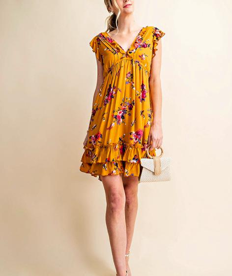 Kori Mustard Ruffle Mini Dress