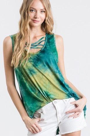 Heimish Multi Green Tie Dye Criss Cross Tank Top