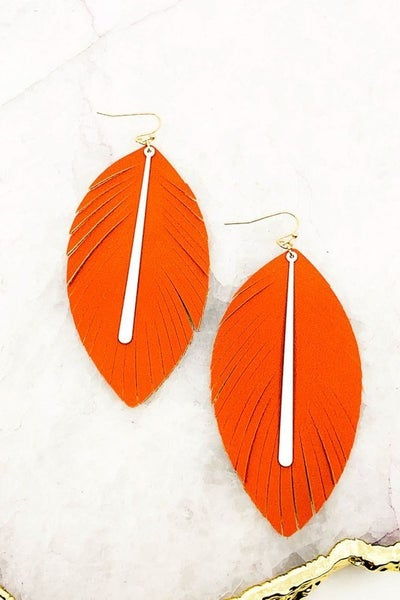 Fringed Leather Bar Game Day Earrings