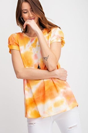 Rae Mode Tie Dye Printed Jacquard Tie Knot Top in Peach/Gold