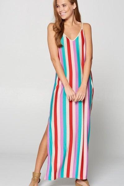 Vanilla Bay Vertical Multi Stripe Sun Maxi Dress