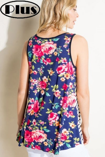 E Luna Curvy Stripe & Floral Pocket Tank Top