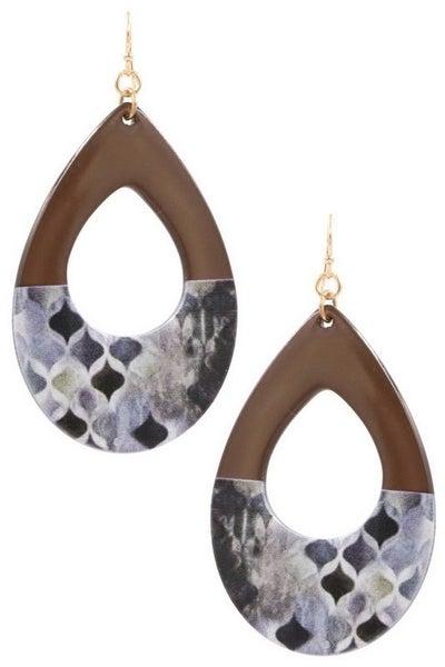 Printed Resin Teardrop Earrings