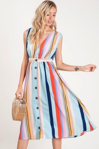 Bibi Multi Color Variegated Stripe Sleveless Dress