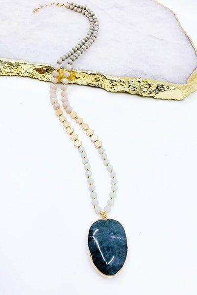 Hexagon Shaped Beaded Strand Necklace with Semi Precious Pendant