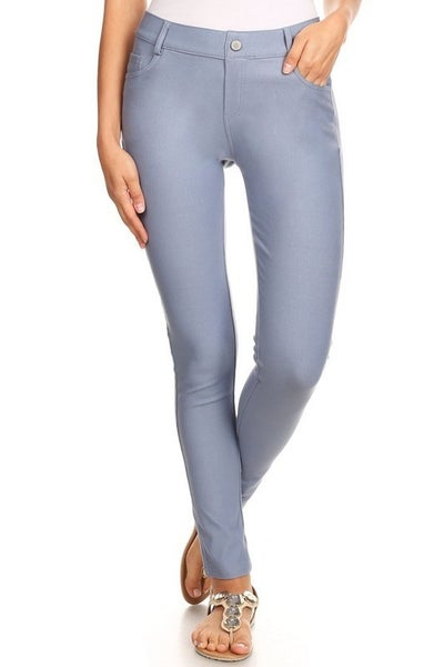 Slate Gray 5 Button Skinny Jeggings