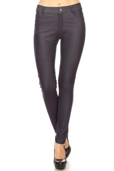Yelete Navy Cotton Blend Jeggings