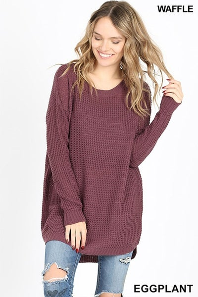 HI-LOW LONG SLEEVE ROUND NECK WAFFLE SWEATER  in Eggplant *Final Sale*
